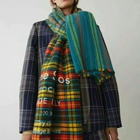 Acne Great autumn and winter cashmere plaid scarf silk scarves feathering