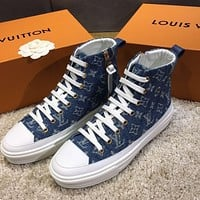 LV Louis Vuitton New style denim canvas leather casual sneakers high-top sneakers
