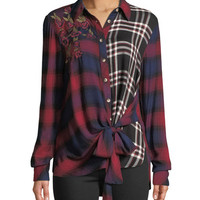 Tolani Carey Button-Front Long-Sleeve Tie-Front Mixed-Plaid Blouse w/ Floral-Embroidery