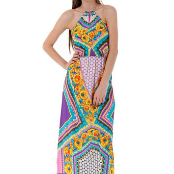(amu) Halter geometrical and floral print colorful maxi dress