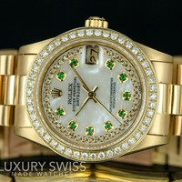 Rolex Lady Datejust 68278 18K Gold Diamond Emerald MOP Dial 31mm - Pre-Owned