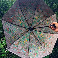 Gucci Popular Women Men Print Folding Umbrella