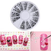 2000pcs 1.5mm Round Glitter Nail Art Rhinestones nail decoration Clear Transparent Glitter Nail Art Rhinestones Decoration Wheel