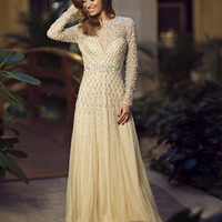 Long sleeve embellished gown 88443 - Prom Dresses