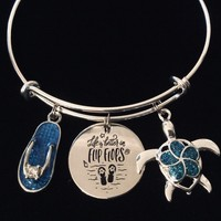 Life is Better in Flip Flops Expandable Charm Bracelet Nautical Jewelry Adjustable Silver Bangle One Size Fits All Gift Blue Flip Flop Sea Turtle