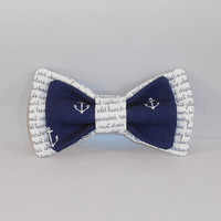 Navy and White Nautical Themed Hair bow With Choice of Elastic Band or Clip