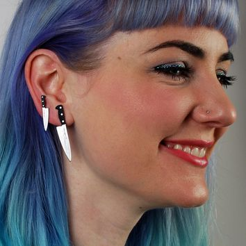 """Tiny Chef's Knife Earrings 1"""" in Silver/Black"""