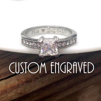 Custom engraved Princess Cut CZ vintage style engagement ring high polished mirror shine 316L surgical stainless steel promise ring BDSM