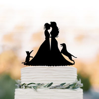 Lesbian wedding cake topper with cat. same sex wedding Cake Topper with dog, silhouette cake topper, mrs and mrs wedding cake decoration