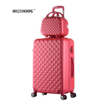 2016New Hot sales Diamond lines Trolley suitcase set/travell case luggage/Pull Rod trunk rolling spinner wheels/ABS boarding bag
