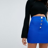 Missguided Button Detail Mini Skirt at asos.com