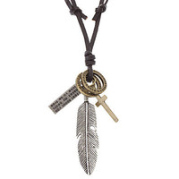 leather necklace, feather pendant men leather long necklace, women leather necklace X020