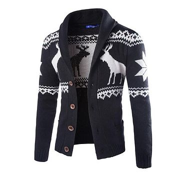 Men christmas sweater with deer pattern cable knit crew casual cardigan sweaters mens
