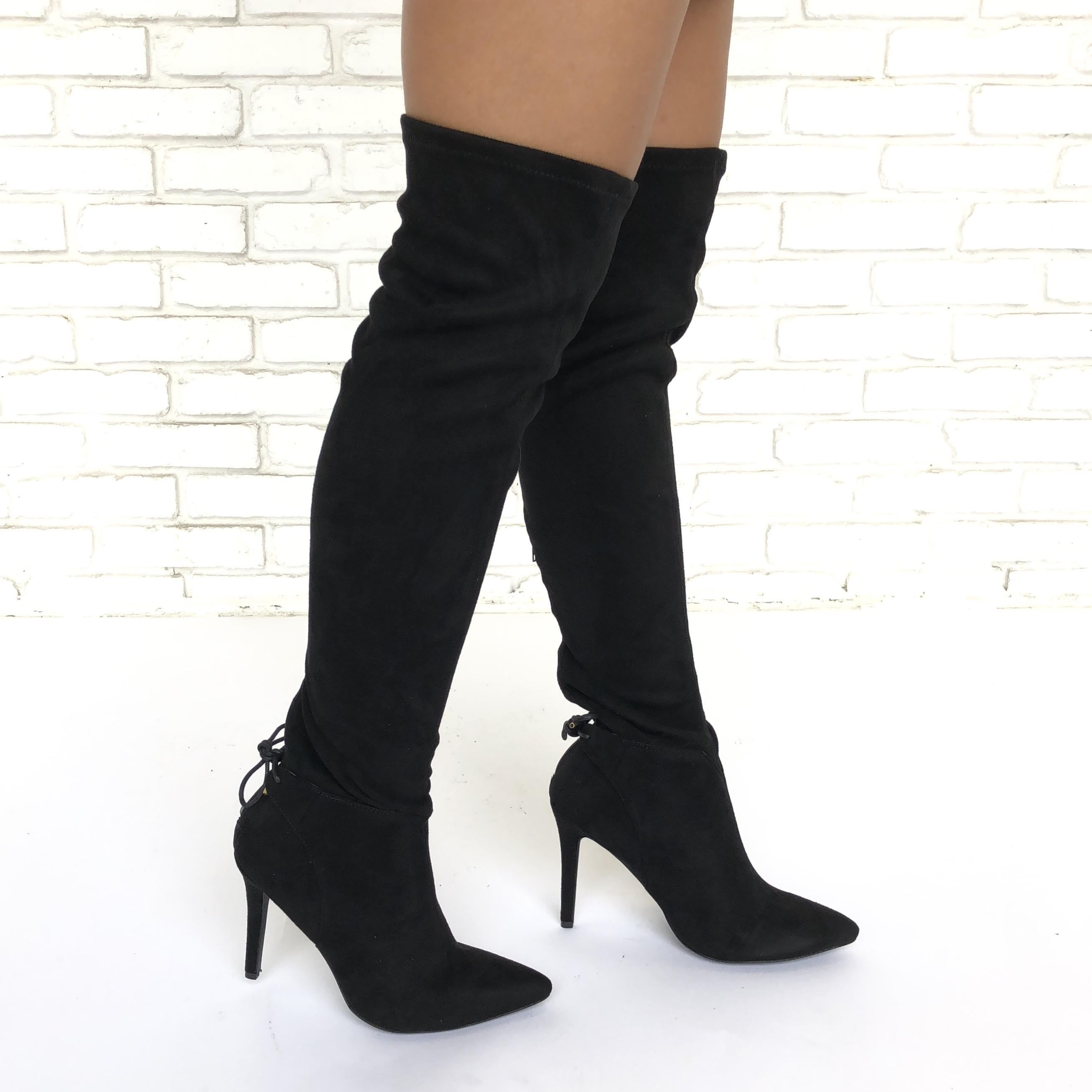 Image of Walk Tall Thigh High Heel Boots In Black