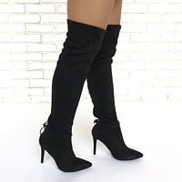 Walk Tall Thigh High Heel Boots In Black