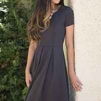 Grace A-Line Modest Dress in Charcoal Grey