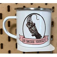 Go Smudge Yourself Enamel Coated Stainless Steel Camping Mug | Handmade | 12 oz | Printed on Both Sides