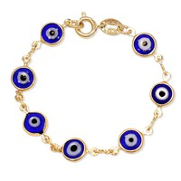 18k Yellow Gold Plated Blue Greek Evil Eye Bracelet Turkish 5.5 in