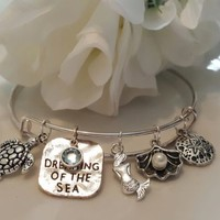 Dreaming of the Sea Charm Silver Bangle Bracelet, Beach, Travel, Ocean, Gift