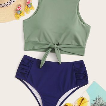 Knot Hem Top With Ruched High Waist Bikini Set