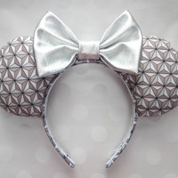Spaceship Earth Inspired Mouse Ears Headband, Custom Ears, Exclusive Fabric Design