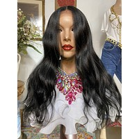 """MOON GODDESS  #1jet black 22"""" Body Wave 4x4 SILK Top Lace Front wig *Ready to wear+ *Fabulous *invisible hairline *natural *human hair blend"""
