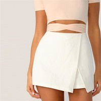 Zipper Fly Back Solid Wrap Skort Shorts Elegant Culottes Mid Waist Women Shorts