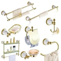 Diamond&Stars Bathroom Accessories Sets Crystal Brass Gold Bathroom Hardware Sets Wall Mounted Bathroom Products