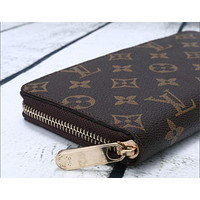LV fashion leather spell color long wallet