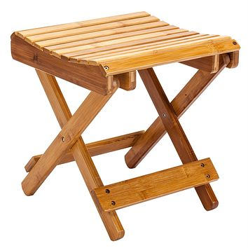 Folding Bamboo Step Stool for Shower, Leg Shaving and Foot Rest, Fully Assembled Wooden Spa Bath Chair for Adults Kids Disabled Women Elderly