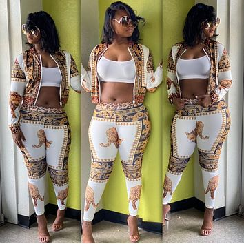 Fashion print casual two piece set
