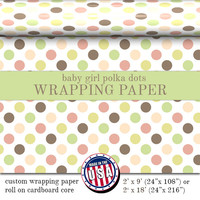 Baby Girl Gift Wrapping Paper Polka Dots Pattern | Custom Gift Wrap Polka Dots In Two Sizes Great For Any Occasion. Made In The USA