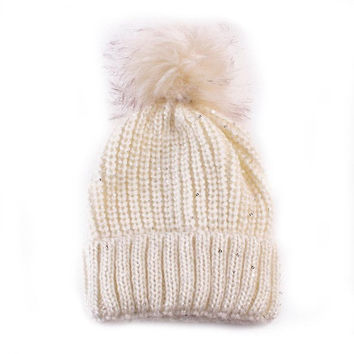 New Fashion  Hats For Women Girls Knitted Keep Warm Solid Faux Fur Pompon Hats Female Skullies & Beanies GS