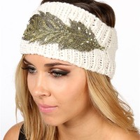 Ivory Sequin Feather Knitted Headband
