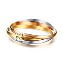 LOVE HOPE FAITH Inspirational Bangle