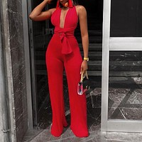 Sexy V Neck Wide Leg Jumpsuits