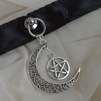 Gothic choker - Magical moon - kitten play dark black and collar with pentagram pendant - witch wiccan wicca goth goddess costume