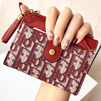 Dior New fashion tassel more letter canvas wallet purse handbag Burgundy