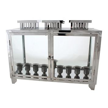 Metal And Glass Menorah Box With Candle Holders 51x40x20 Cm - Nickel Profiles