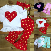 Toddler Girls Kids Outfits Gold Polka Dot Tops Ruffled Pants 3Pcs Clothes Set