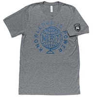 Knowledge is Power Tee - Gray/Blue