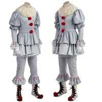 2017 Stephen King's It Pennywise Cosplay Costume Adult Unisex Women Terror Clown halloween costumes for men adult mask