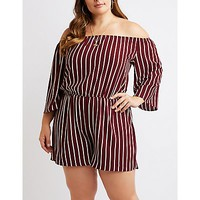 Plus Size Striped Off-The-Shoulder Romper | Charlotte Russe