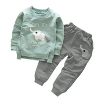 Kids Clothes Baby Boys Girls Cartoon Elephant Cotton Set Children Clothing Sets Child T-Shirt+Pants Suit