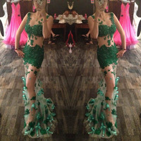 Sexy Green Tattoo Prom Dresses Long See-Through Appliques Crystal Mermaid Prom dress  dress for graduation Bow chic Lady Gown