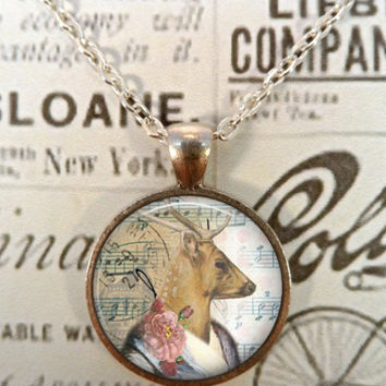Deer Necklace, Steampunk, Woodland, Shabby Chic, Boho T1