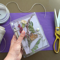 Unique binder with pressed dried flower leaf and herbs, only one of a kind gift for vegans, nature lovers notebook, herbarium sketchbook, a6