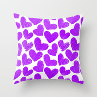 Sketchy hearts in purple and white Throw Pillow by Silvianna