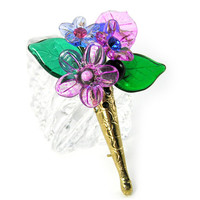 Flower Pin, Blooming Bouquet, Spring Brooch, Vintage French Glass, Purple, Pastel, Mother's Day, Vintage Inspired