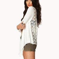 Draped Lace Open-Front Cardigan | FOREVER 21 - 2048669386